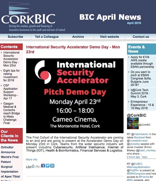 BIC April Newsletter; Accelerator Demo Day; Raising Investment; Clients etc.