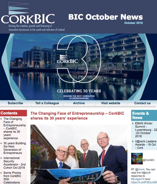 CorkBIC October Newsletter - Celebrating 30 Years